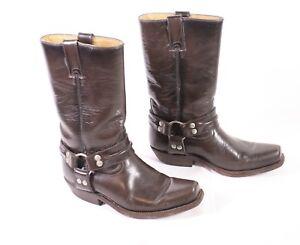10S-Buffalo-Damen-Biker-Boots-Westernstiefel-Gr-36-Leder-braun-flacher-Absatz