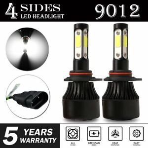 2x-4-Sides-9012-LED-Headlight-Bulb-High-Low-Beam-6000K-Flip-Chips-2400W-360000LM