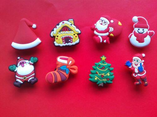 8 cute Christmas Xmas Santa jibbitz croc shoe charms hair loom band cake toppers