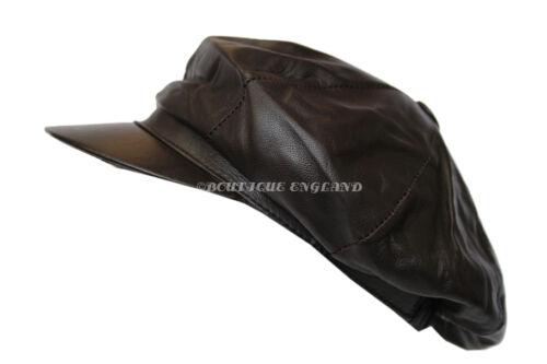 Victorian Peaky Blinders Dark Brown Men Baker Newsboy Gatsby Leather Balloon Cap