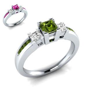 Fashion 925 Silver Filled Green Peridot Birthstone Engagement Wedding Ring 6-10