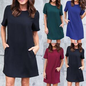 b998e6b9a29a UK New Womens Plain Shirt Dress Ladies Short Sleeve Boyfriend Pocket ...