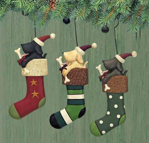 "New In Box Ornaments Set of 3 /""Dog in Stockings/"" Williraye -2896"