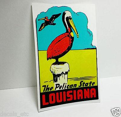 Vinyl Sticker Louisiana Pelican Vintage Style Travel Decal Luggage Label