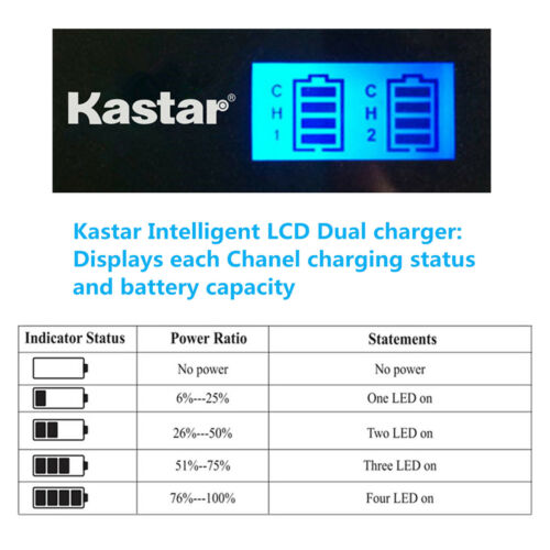 Kastar BATTERIA LCD Dual Charger per Canon NB-6L CB-2LY Canon PowerShot SX540 HS