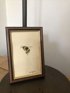 Little Bumble Bee Framed Original Watercolour Painting, Signed, Vintage, Cottage