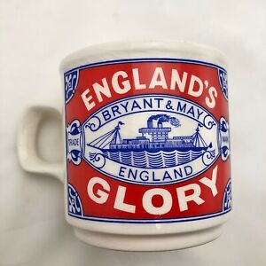 Vintage-England-s-Glory-Advertising-Coffee-Mug-Cup-Ireland-Bryant-amp-May-Matches