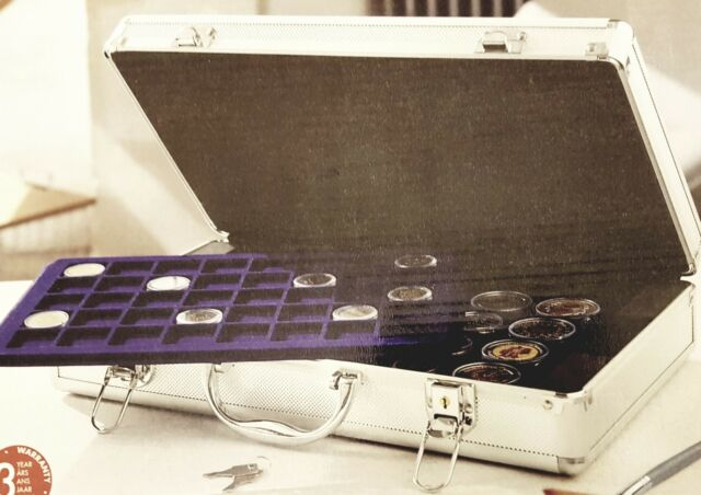 Aluminium Coin Storage Case Carrying Box with 5 Lightweight Trays and Keys