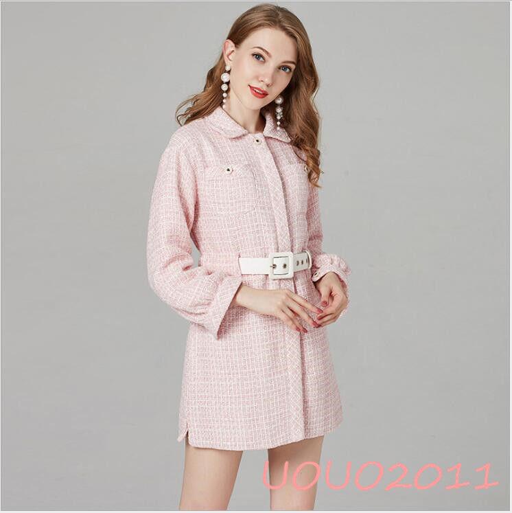 Occident Womens New Tweed Wool Dress Coat Long Sleeve Sleeve Sleeve Slim Fit Belted Midi Skirt abce2b