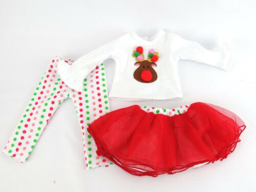 """Christmas Reindeer 3pc Skirt Pants Outfit Fits 18/"""" American Girl Doll Clothes"""