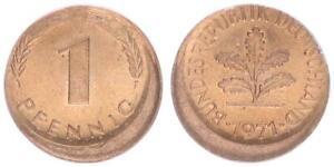 BRD 1 Pfennig 1971 g Fehlprägung: 15% dezentriert prfr. 63993