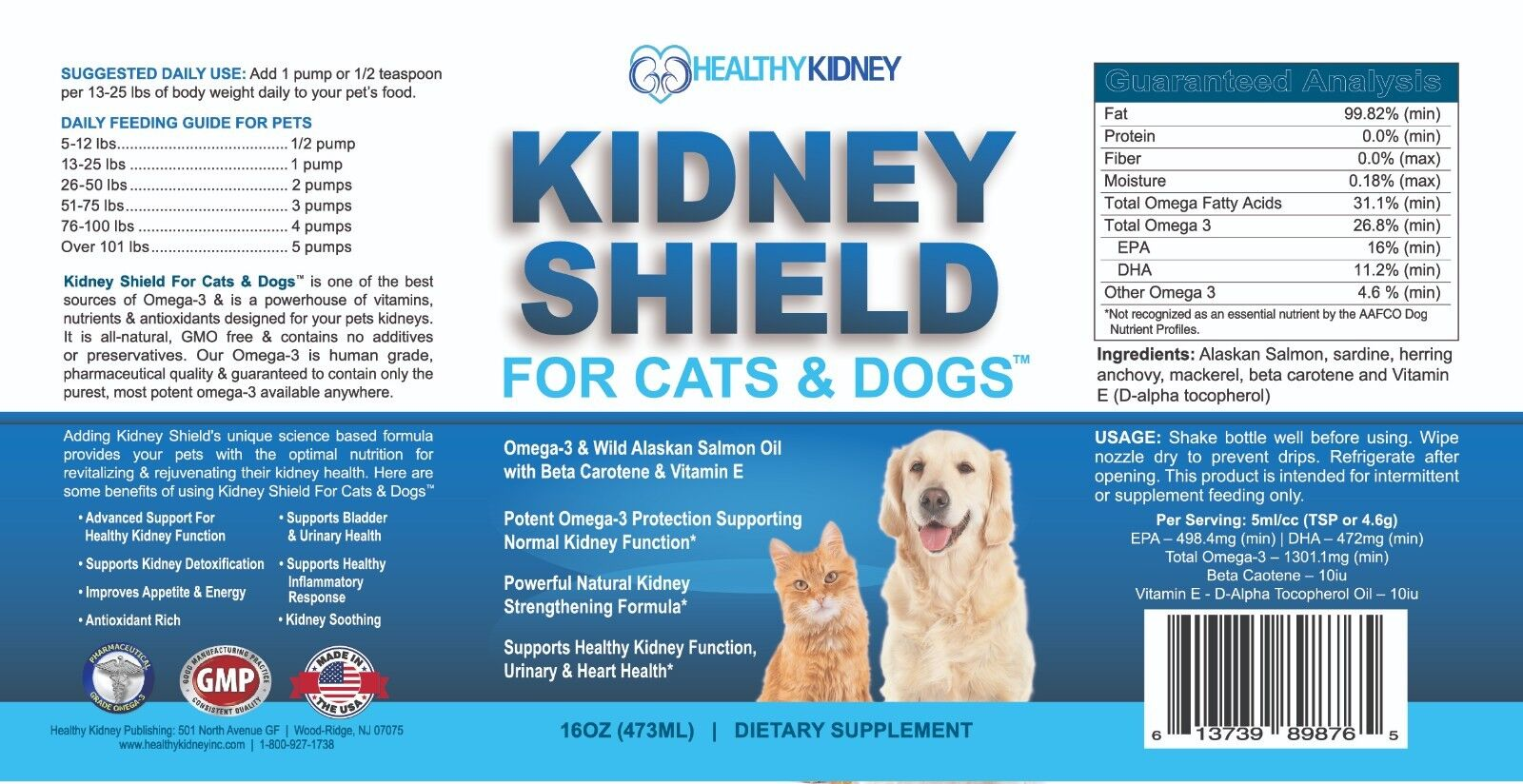 Kidney Shield Supplement For Cats Dogs Fish Oil Pets Fatty Acids