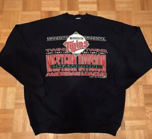 low priced 5ccc9 c00c0 Details about Vintage MLB Minnesota Twins Baseball Champions Crewneck  Sweatshirt Blue Sz XL