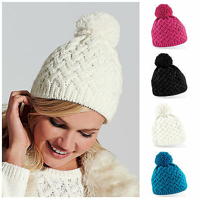 Ladies Chunky Cable Knit Beanie Hat Bobble Knitted Warm Winter With Pom Pom