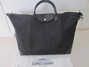 Détails sur Longchamp bagage grand sac voyage en toile et cuir noir