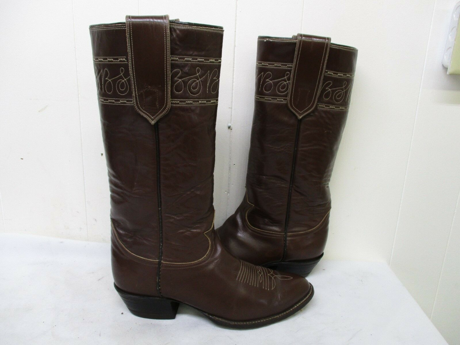 Tony Lama Brown Leather Tall Stovepipe Cowboy Boots Size 9 E Style 6431 USA