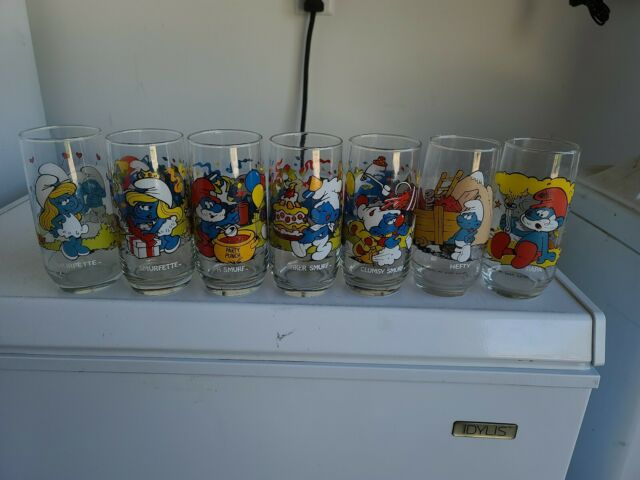 Complete Set of 14 Different Smurf Character Glasses 1982 and 1983 Peyo