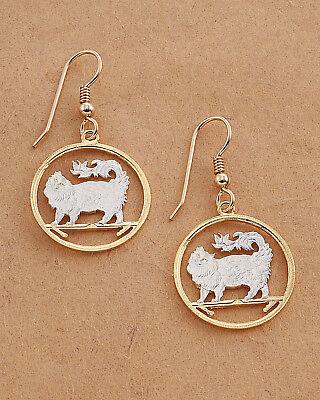 """7//8/"""" in Diameter Earrings,Hand Cut Persian Cat Coins Cat # 660E Persian"""