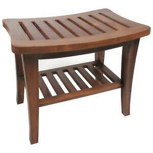 Teak Solid Wood Shower Bench Shelf Bath Seat Chair Spa ...