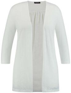 wholesale dealer ee75b d4492 Details zu Samoon Lange Shirtjacke mit 3/4 Arm/Cardigan by Gerry Weber  ged.weiß Damen Gr.