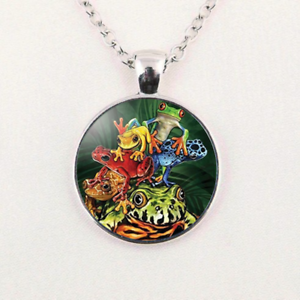Charm Frog Party Glass Dome Silver Pendant Necklace Unisex Jewelry Gift