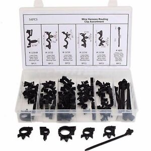 54pcs wiring harness wire loom routing clips car. Black Bedroom Furniture Sets. Home Design Ideas