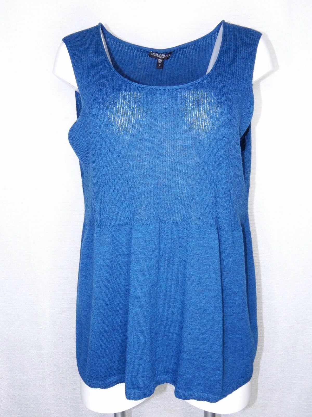 Eileen Fisher Woman 1X Plus Größe Sleeveless Top Teal Storm SCPNK Shell