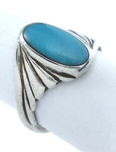Vintage-Women-Ladies-Size-6-US-Oval-Turquoise-Stone-Sterling-Silver-Ring-G847