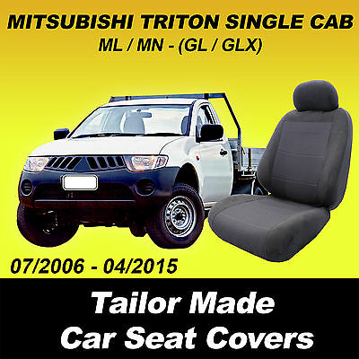 MITSUBISHI L200 SINGLE CAB 06+ FULL CAR SEAT COVER SET RED PIPING LOW BACK