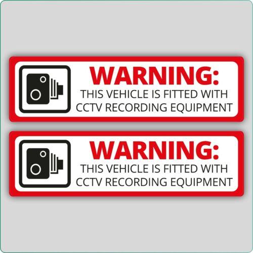 2 X advertencia este vehículo está equipado con equipos de grabación de CCTV PEGATINA