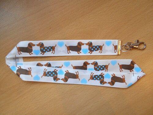 Handmade Dachshund Dog Lanyard Whistle Walking Training Puppy ID Key Hearts Blue