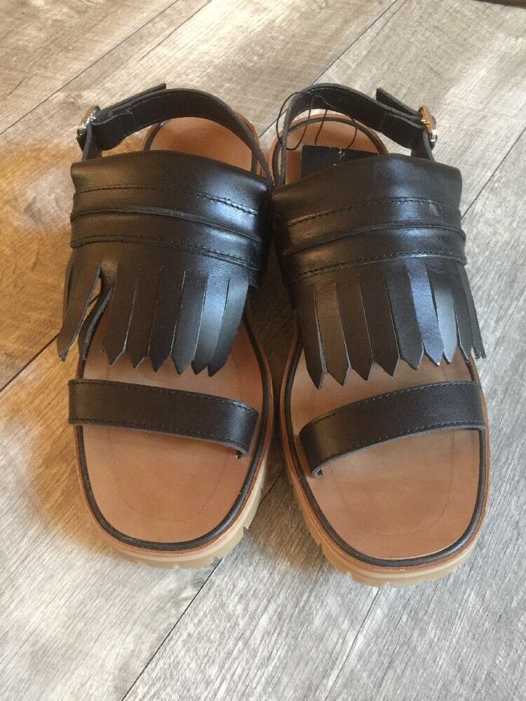 Flecos de cuero negro de de de mujer de Zara Flecos Sandalias nuevo nos 9 o Talla 40  precios mas baratos