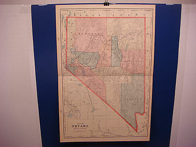 "1903 Cram's Atlas Map 2 Page,nevada State,nice Color,suitable To Frame 14""x21"" To Ensure Smooth Transmission Antiques"