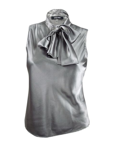 Nine West Women's Plus Size Tie-Neck Sleeveless Camisole (1X, Platinum)