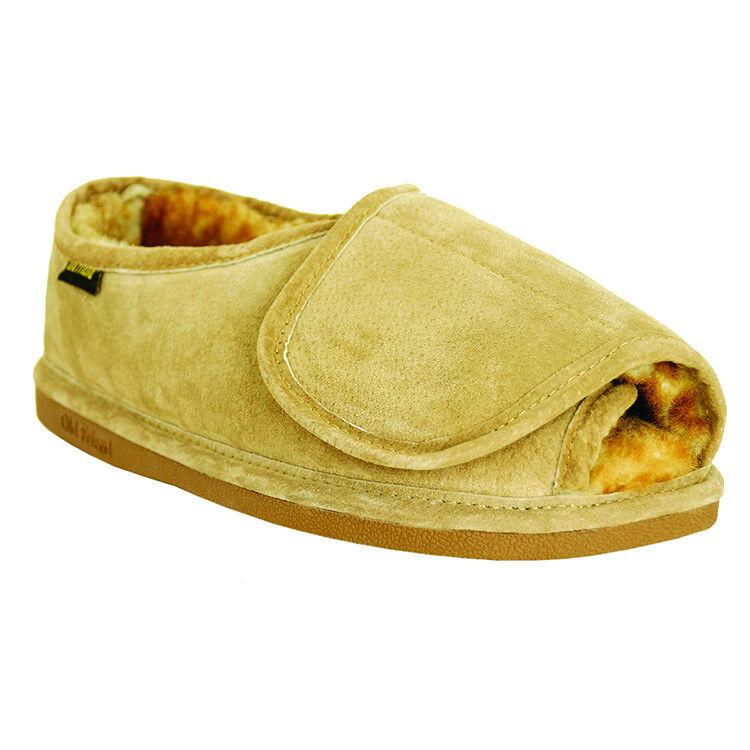 Old Friend Footwear Mens Step-In Sheepskin Slipper with Adjustable Closure