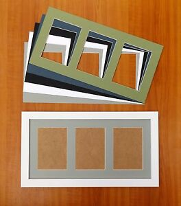 wide white woodgrain finish photo frame with triple 7x5 5x7 aperture mount ebay. Black Bedroom Furniture Sets. Home Design Ideas