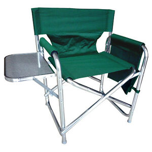 Green-Sturdy-Portable-Travel-Camping-Folding-Directors-Chair-Pockets-amp-Table