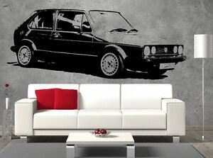 VW-Mk1-Golf-Front-Vinyl-Sticker-Wall-Art-Boys-Bedroom-Garage