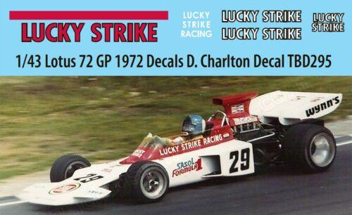 Charlton British Decal TBD295 1//43 Lotus Ford 72 GP 1972 Decals D