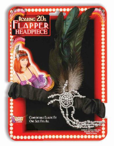 BLACK CHARLESTON FLAPPER HEADBAND w// BLACK PLUME HALLOWEEN COSTUME ACCESSORY