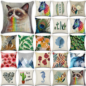 18x18-034-Pillow-Case-Cotton-Linen-Sofa-Bed-Throw-Waist-Cushion-Covers-Home-Decor