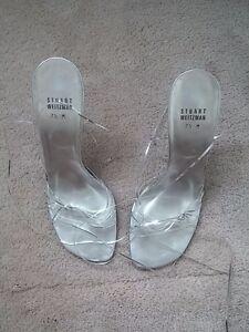 Stuart-Weitzman-Silver-Strappy-4-034-Heel-Sandals-Sz-7-5-M-Runs-One-Size-Smaller
