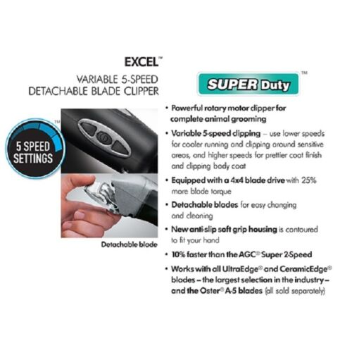 Andis Ceramicedge Pro 5-speed Clipper&10 Blade, 8 Acier Inoxydable Guide Nid Kit