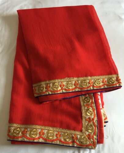 gouden met blouse Saree ongeverfd Rode H6wEq15