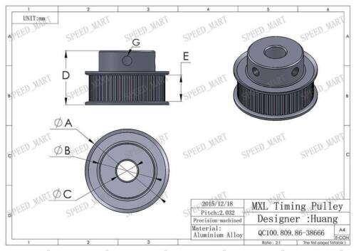"""MXL Aluminum Timing Belt Pulley 50 Tooth 6mm Bore 0.08/"""" Pitch for Stepper Motor"""