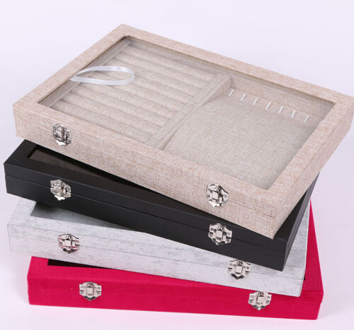 2 in 1 Earring Ring Jewelry Display Velvet Ring Tray Organizer Storage Show Box