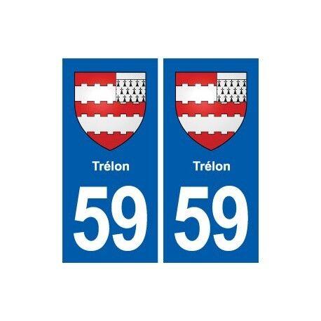 59 Trélon blason autocollant plaque stickers ville arrondis