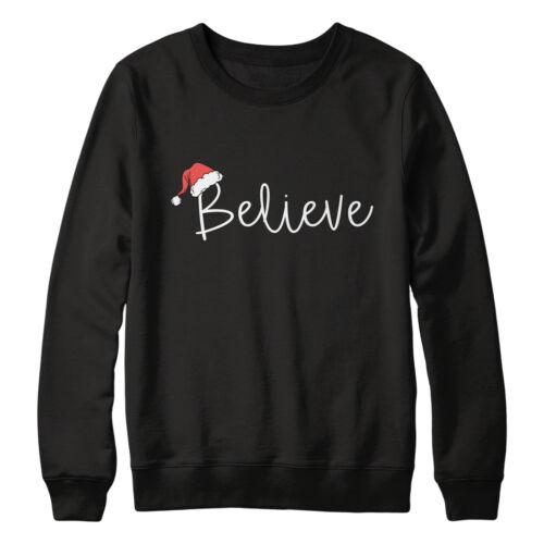 Details about  /Unisex Believe Santa Hat Sweatshirt Slogan Christmas Jumper For Her Classic