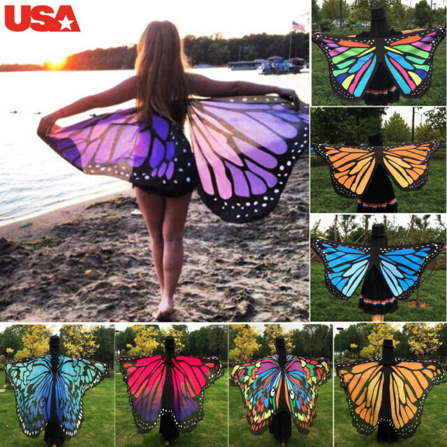 12cafae95fd89 UK Soft Fabric Butterfly Wings Shawl Fairy Ladies Nymph Pixie Costume  Accessory