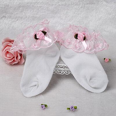 New Girls Geschnürt Rüschen Taufe Socken in weiß,Rosa,Lila,Blau,Gelb 1-8 Jahr